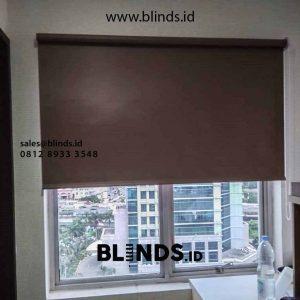jual roller blinds blackout warna coklat di Sunter by Blinds Jakarta id4549